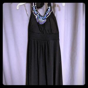 Beaded halter top dress